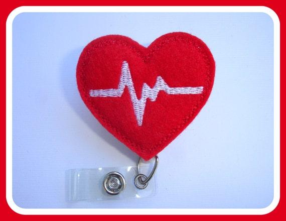 Retractable badge holder - nurse badge holder - Heartbeat EKG red felt with white - Nurses RN doctor medical staff