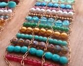 Beaded Chain & Gemstone, Czech, Pearl Bracelet Cuff