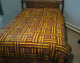 Log cabin weave quilt, hand quilted, cotton,brown,yellow,new,full/queen