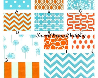 Custom Crib Bedding You Design   Bumper and Bedskirt inTangerine and Aqua