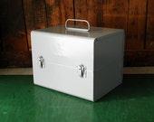 Brumberger Film Chest, 8mm or Super 8 Film Storage Case, Unused in Original Box, Grey Metal Film Chest