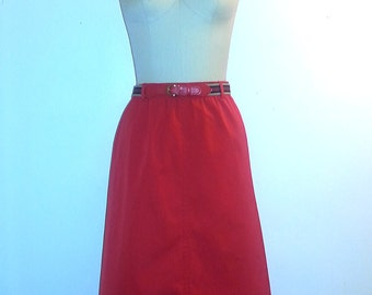 1960s Skirt ~ 60s Spring Skirt ~ Cherry Red