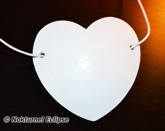 White Heart Shaped Leather Eye Patch Pirate Halloween Gothic Fantasy Cosplay Costume Unisex CONCAVE SHAPE - Available Any Basic Color