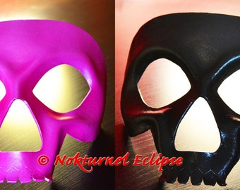 Pair Black & Pink Skull Leather Mask Set Comic Con Cosplay Horror Masquerade Halloween Fetish Costume UNISEX  -  Available Any Basic Color