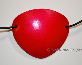 SMALL Red Leather Eye Patch Pirate Halloween Cosplay Horror Geek Costume Party Unisex CONCAVE SHAPE - Available Any Basic Color