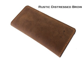 Hand Stitched Android Smartphone Wallet in RUSTIC DISTRESSED or Oiled Brown (Free Personalization)