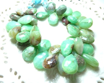 Creamy green and brown peruvian opals faceted tear drops - 8 stones