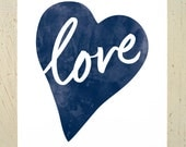 Typographic Love Heart digital print - navy blue. Watercolour love print by Erupt Prints. A4 or 8x10 print sizes available