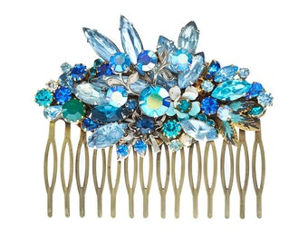 Repurposed vintage wedding hair comb - something blue hair accessoiries - crystal haircomb - something old bridal hairpiece