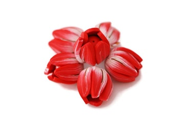 Red Tulip beads,Flower beads, flower pendants, focal beads, statement beads - red and white tulips buds polymer clay - 6 pcs