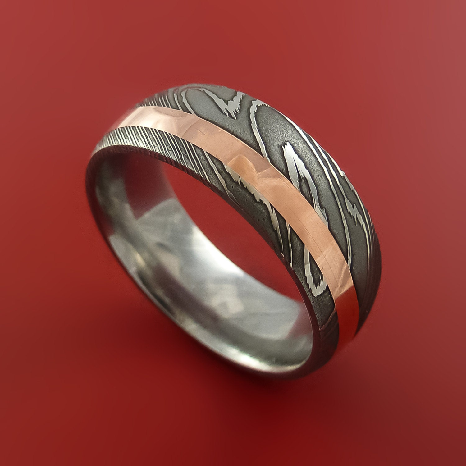 View Full Gallery Of Unique Engagement Rings Wedding Rings: Damascus Steel And Copper Ring Wedding Band Custom Made To