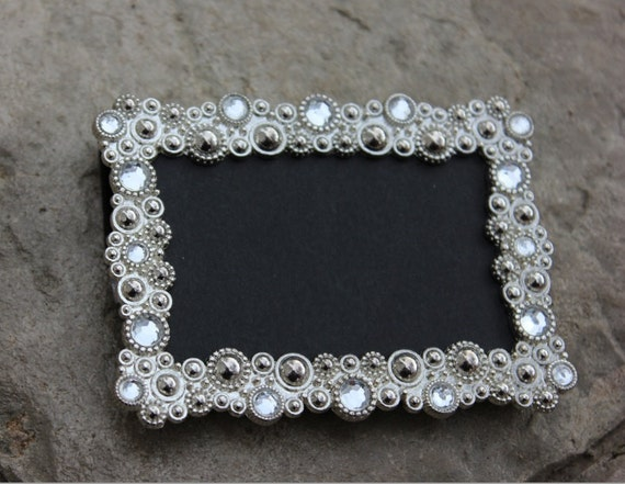 set 30 vintage style bling jeweled frames rhinestone gatsby silver diamond chalkboard table number frames ornate