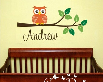 Owl on branch with personalized name -  Vinyl Wall Decal, nursery, kids room, removable wall decal set, Nursery decor