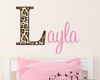 Leopard Print Monogram Name, Initial and name vinyl decal, nursery, kids & teens room, custom removable decals stickers
