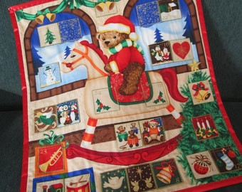 Fabric Advent Calendar A Teddybear's Christmas, Christmas Decor, Holiday Wallhanging, Traditional Christmas