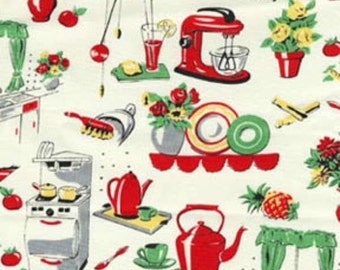 Michael Miller Cream Fifties Kitchen fabric - 1 yard