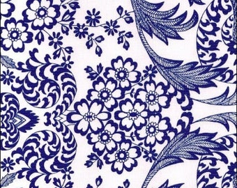 Round Toile Blue Oilcloth Tablecloth