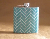 Ready to Ship Gift Blue and White Herringbone Print 6 ounce Stainless Steel bridesmaids Gift Flask KR2D 7610