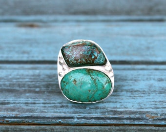 30% OFF SALE - Double African Turquoise Sterling Silver Ring - Size 6.5