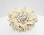 Vintage Carved Celluloid  Rhinestone Brooch