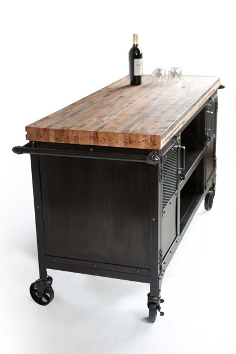 Rolling Custom Handmade Bar Cart Reclaimed Train By