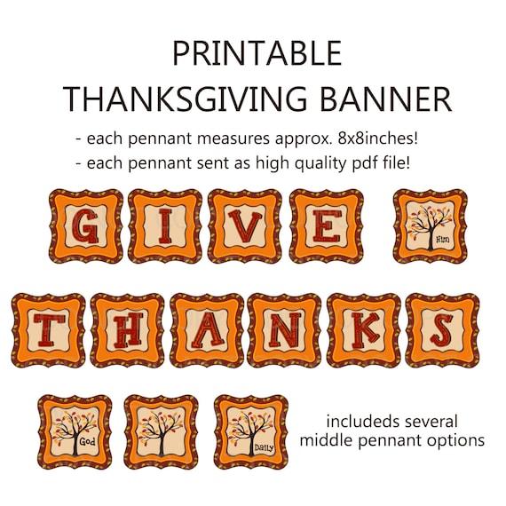 Items similar to Printable DIY Thanksgiving Give Thanks ...