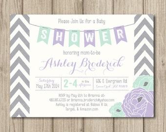 PURPLE BABY SHOWER Invitation, Chevron Baby Shower Invitation, Purple and Mint Baby Shower, Printable Invitation 5x7