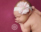 Pink Newborn headband, vintage headband, baby headband, girl headband, photography prop, newborn photo prop