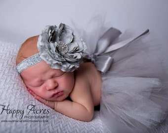 Platinum Princess tutu and headband, newborn tutu, baby tutu, grey tutu, silver tutu, newborn photography  prop