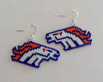 Bronco's Beaded Earrings