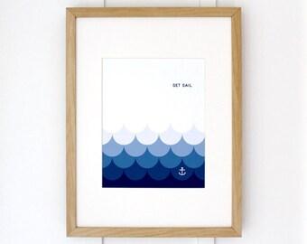NAUTICAL ART PRINT // Set Sail // Inspirational Poster