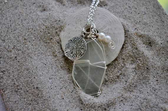 Seaglass Necklace with Sanddollar Charm and Pearls