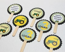 Green tractor cupcake toppers (24) - green and yellow birthday party, farm birthday, baby shower, tractor birthday party