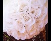 Rose pomander ball for decor or flower girl