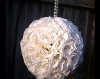 XL extra large white/ivory rose pomander
