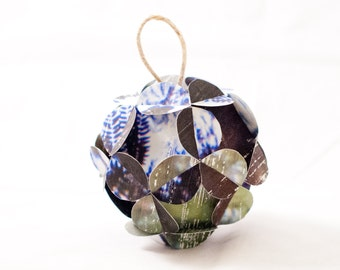 Blue Green and Black Floral Handmade Paper Tree Ornament