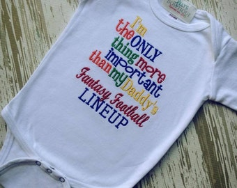 Embroidered Daddy's Fantasy Football shirt or onepiece
