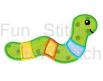 Worm applique machine embroidery design instant download