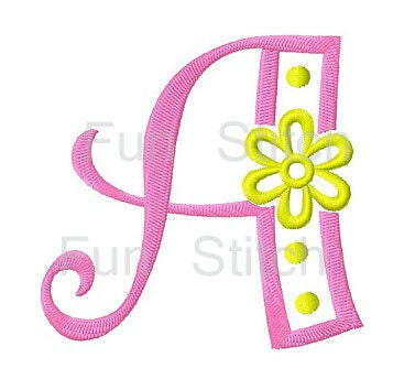 26 Flowers Letters Machine Embroidery Designs By FunStitch