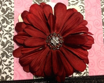 Burgundy Flower Hair Bow