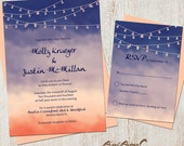 Wedding Invitation Suite: (Sunset, Beach, Watercolor, Navy and Coral, Lights) Coastal Sunset Watercolor DIGITAL