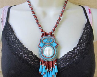 Native American Inspired Bead Embroidered Necklace