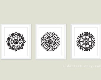 Black Mandala Medallion Wall Art  Print Set - Modern Home Decor - Black and White - Set of 3