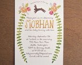 Bunny rabbit digital watercolor floral baby shower invitations rose flowers whimsical