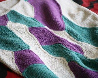 Handmade 1970 Crochet boxy Top - White Purple Teal vest Abstract Geometry crochet