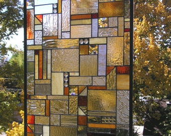 """Mission Style Geometric Clear and Warm Tones-- 18"""" x 32""""--Stained Glass Window Panel"""