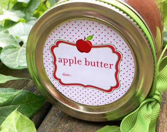 Apple Butter canning jar labels, round stickers for mason jars for fruit preservation, regular or wide mouth mason jar labels