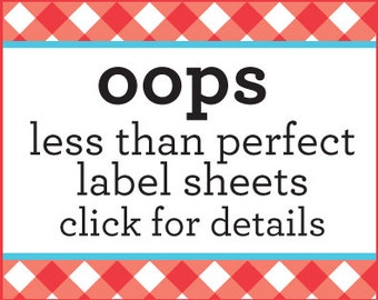 OOPS Less than Perfect labels, discount labels for canning jars, grab bag listing, bulk canning labels