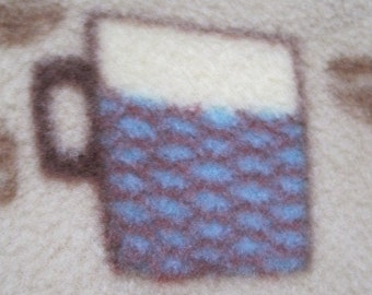 Coffee Cups on Beige with Maroon Blanket - Ready to Ship Now