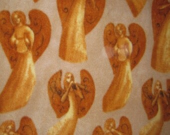Angels in Gold with Brown - 2 Layer Fleece Blanket - Ready to Ship Now